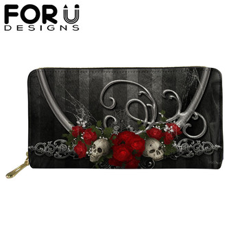 FORUDESIGNS Women Long Wallets Gothic Skulls Printed Cash Waterproof PU Leather Money Purse Coin Card Holder Phone Pocket