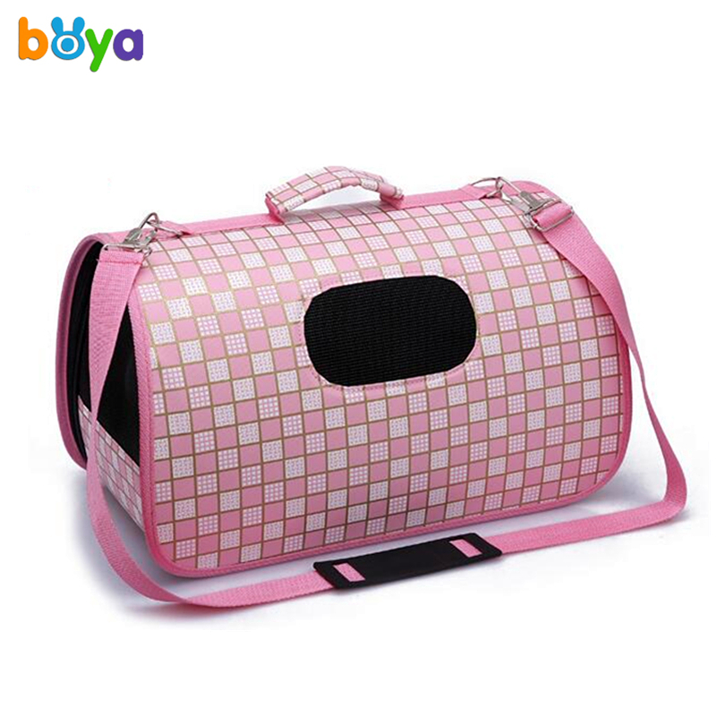 Hot! Plaid Small Pet Sided Carrier for Dogs Cats Travel Bag Folding Carrier Cage Collapsible Crate Tote Handbag Pink & Black