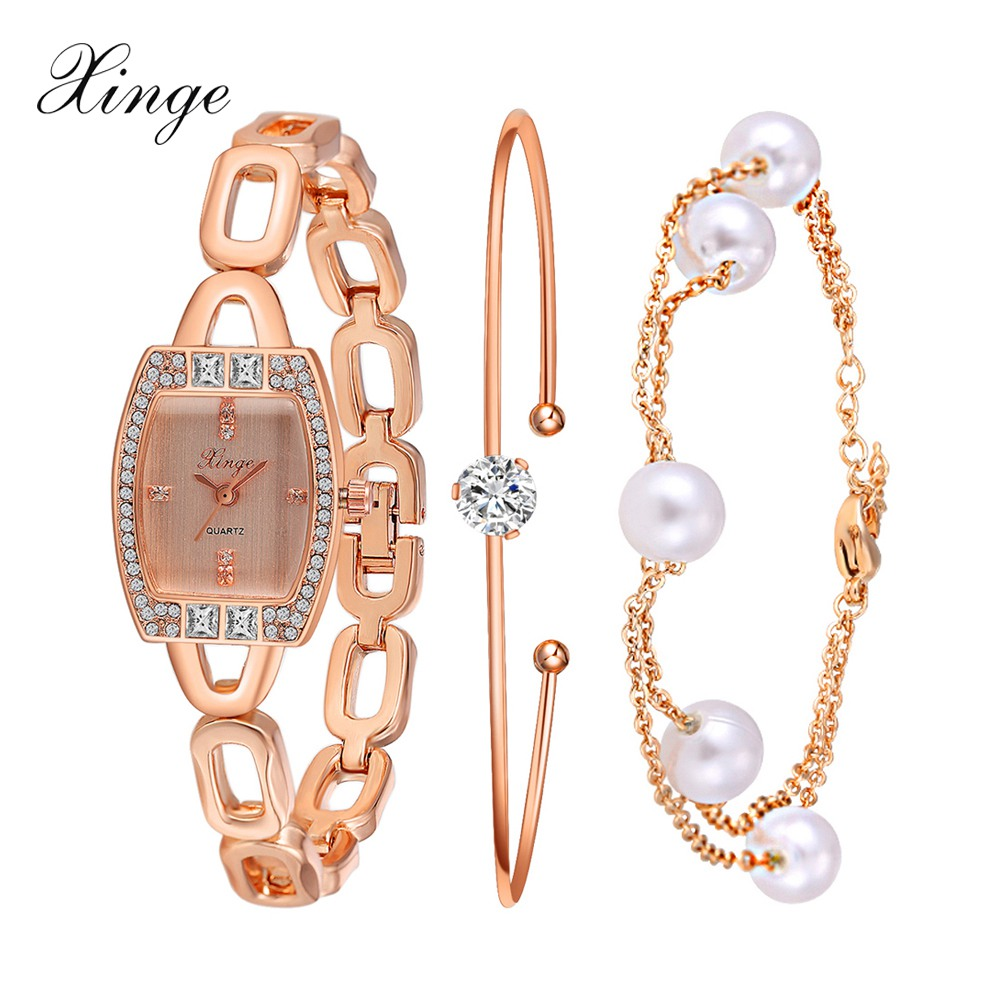 Xinge Top Brand Luxury Watch Women Rectangle Waterproof Watches Crystal Bracelet Wristwatches Set Gift Women Quartz Watches xinge brand luxury crystal quartz watch women bracelet rhinestone jewelry watch set wristwatch waterproof women dress watches