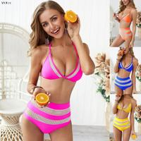 Sexy Patchwork Boho Beach Bikini Set Women High Cut Mesh Two Piece High Waist Bikini Swimming Suit For Women