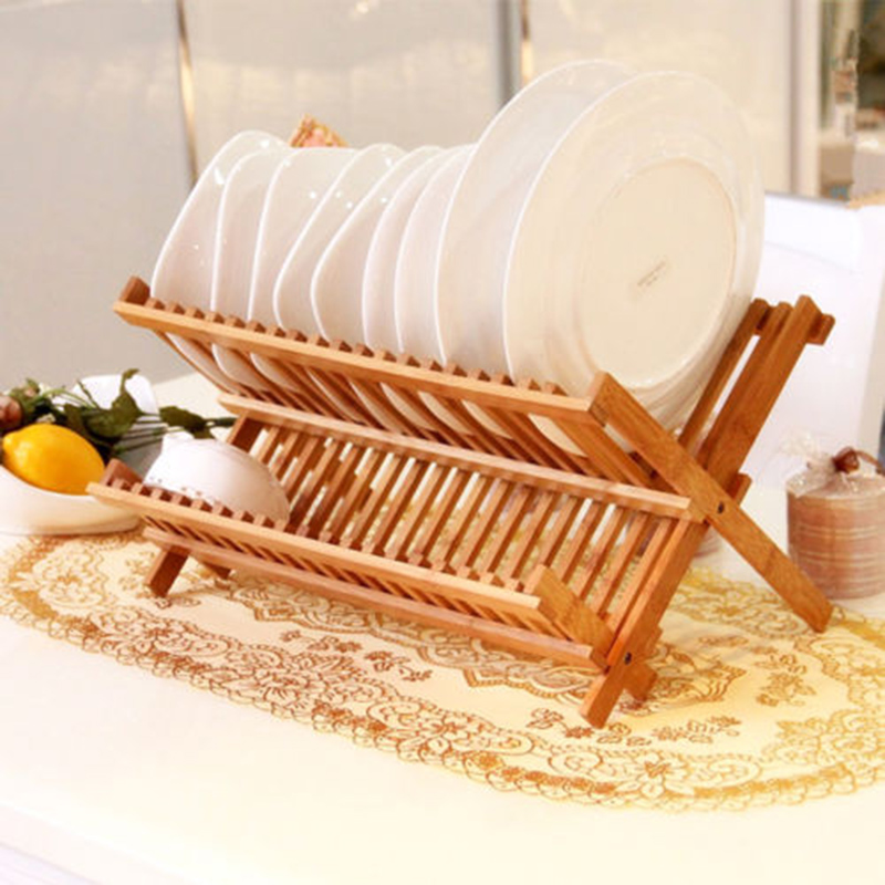 Folding Bamboo Dish Rack Drying Rack Holder Utensil Drainer Plate Storage Holder Plate Wooden Flatware Dish Rack
