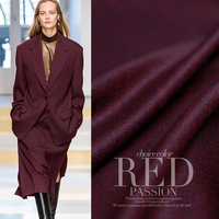 150cm Width 340g M Weight Wine Red Color Worsted Herringbone 100 Wool Materials Business Suit DIY