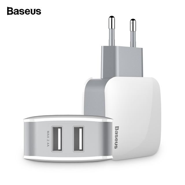 Baseus Universal Phone USB Charger Dual Ports Travel Wall Charger Adapter 2.4A EU US Plug Mobile Phone Charger For iPhone Tablet
