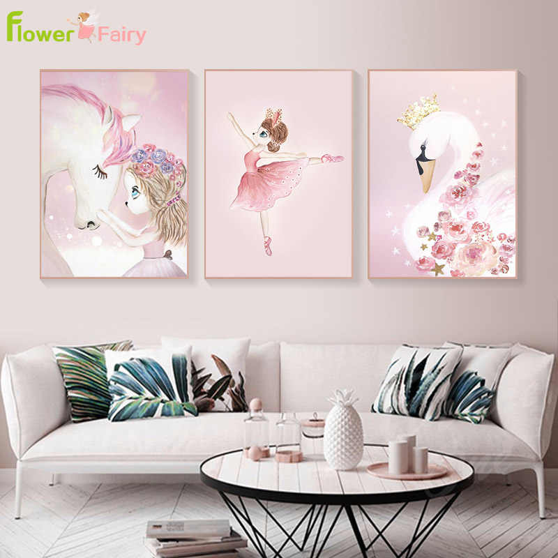 Unicorn Princess Baby Girl Room Decor Cartoon Swan Wall Art Canvas Painting Nordic Poster Wall Pictures For Living Room Unframed