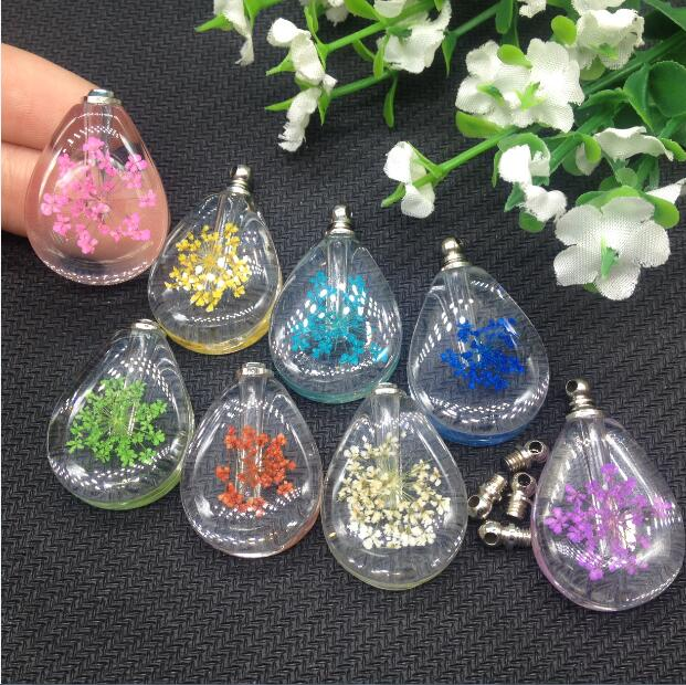 100pieces 20*28mm Real natural dried flower vial pendant Creative fashion charms perfume oil bottle pendant name on rice jewelry