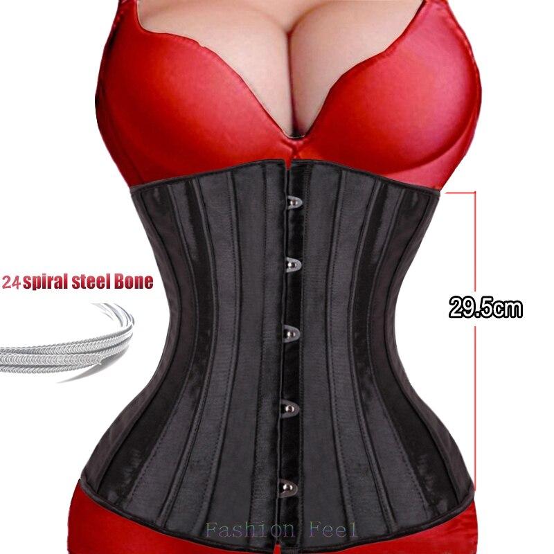 Steampunk Corset Women Plus Size 24 steel boned Sexy Gothic Bustier Waist Cincher Belt Underbust Lace Top Tummy Slimming Sheath