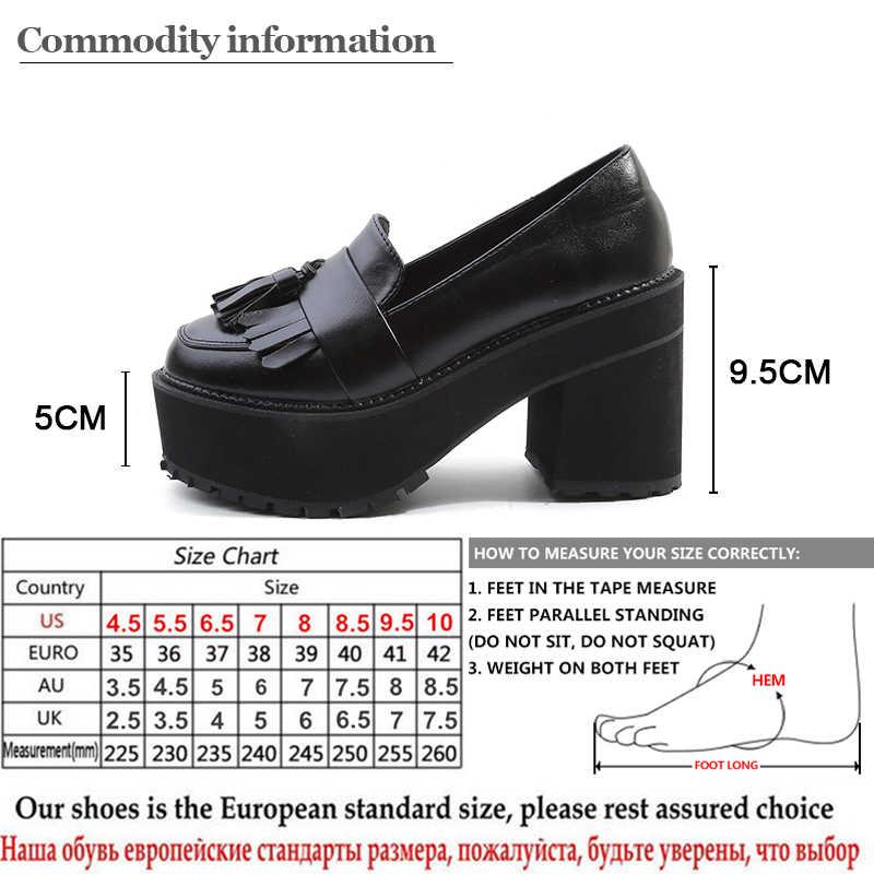 Gdgydh moda platformu pompaları yüksek topuklu ayakkabı kadın ayakkabı siyah 2020 ilkbahar sonbahar yuvarlak ayak üzerinde kayma püskül ayakkabı kadınlar çin