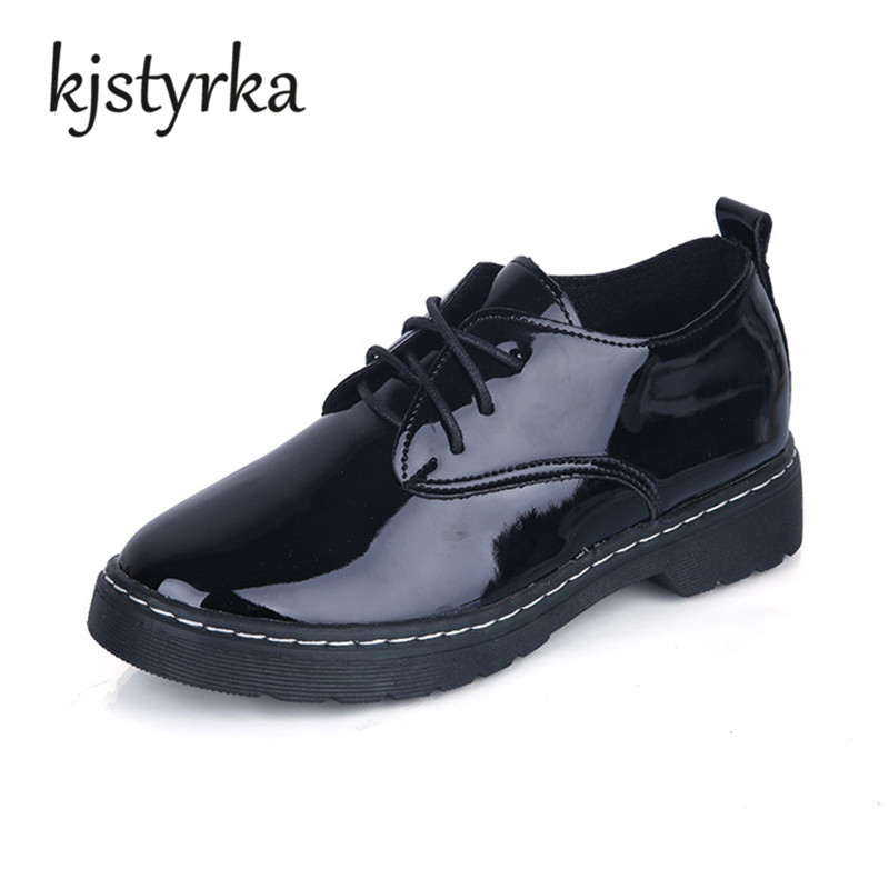 Kjstyrka Oxford Shoes For Women Shoes Patent Leather Lace-up Female Casual Shoes Flats 2018 Spring Autumn Lace-Up Zapatos Mujer new black martin shoes fashion spring women shoes flats casual oxford shoes female obuv zapatos mujer