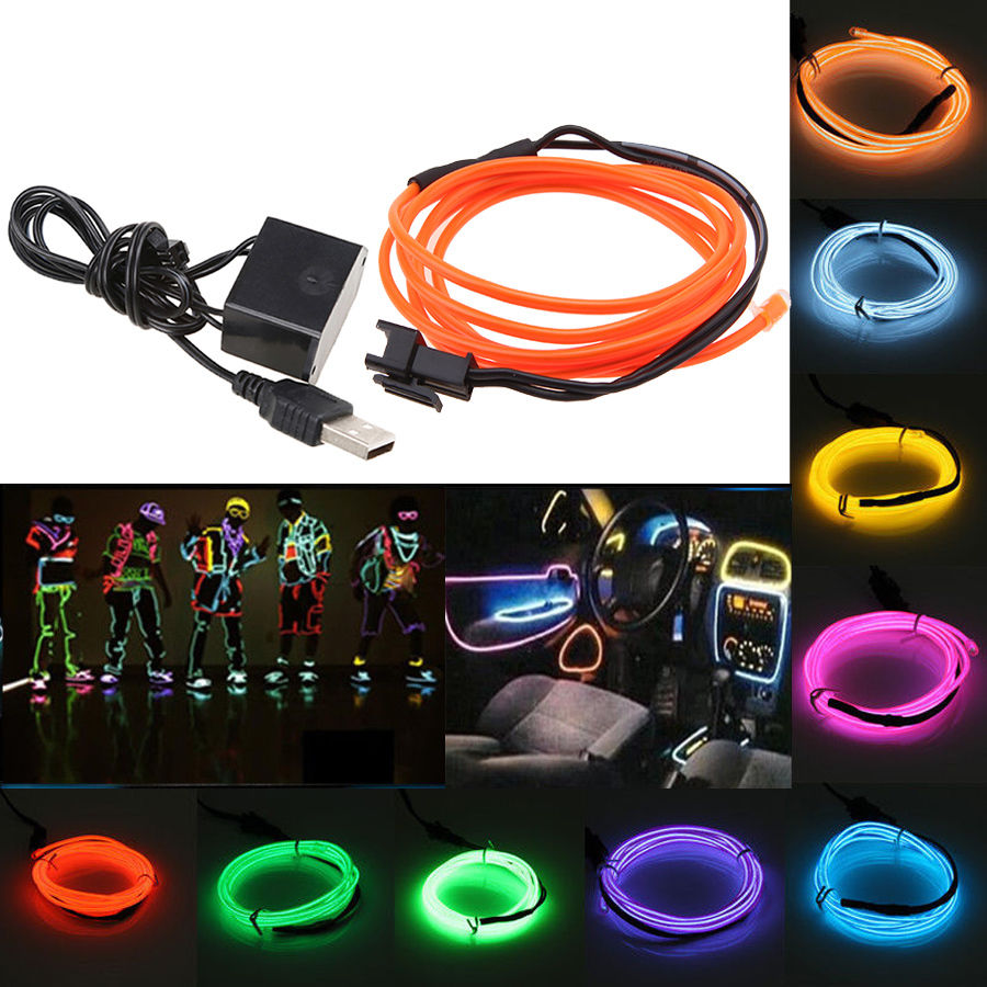 Detail Feedback Questions About 35 10 Colors 1m El Wire Tube Rope Wiring A Neon Light Flexible Cold For Car Truck Birthday Party Wedding Decorative With Usb