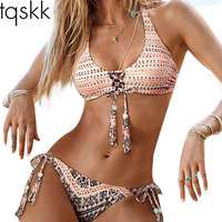 TQSKK 2016 Newest Biquini Brazilian 4 Style Sexy Bandage Bikinis Women Swimwear Push Up Padded Bathing