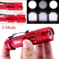Mini Waterproof LED Flashlight Tactical Flashlight 2000 Lumens Zoomable CREE Q5 LED 3 Modes Torch Linternas Red For AA/14500