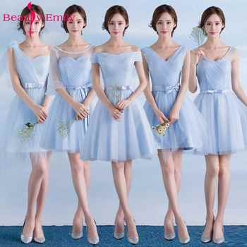 Beauty Emily Short Lace Blue Bridesmaid Dresses 2019 A-Line Sleeveless Lace Up Off the Shoulder Wedding Party Prom Dresses - DISCOUNT ITEM  40% OFF All Category