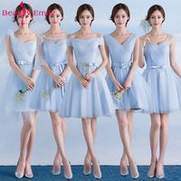 Beauty Emily Short Lace Blue Bridesmaid Dresses 2019 A Line Sleeveless Lace Up Off the Shoulder Wedding Party Prom Dresses