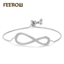 FEEHOW New Fashion Women Lucky Zirconia Crystal Number 8 Charm Bracelets & Bangles for Girl Bridal Wedding Jewelry Gift FWBP2024