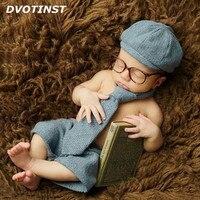 Dvotinst יילוד צילום Props בייבי מכנסיים קצרים ילד + כובע + עניבה + משקפיים ארוך בגדי תחפושת סט אדון לירות אולפן תמונת נכס