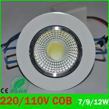 LED Downlight 7w 9W 12w LED COB chip downlight Recessed Ceilinglight  LED Spot Light Lamp White/warm white led lamp epistar ZK93