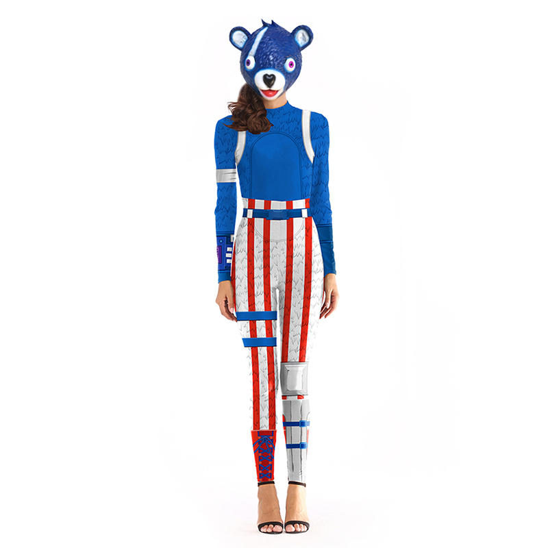 Adult Blue Panda Team Leader Costume Fancy Dress Halloween Costume for Women Game FortnitedCosplay Mask Christmas Costumes