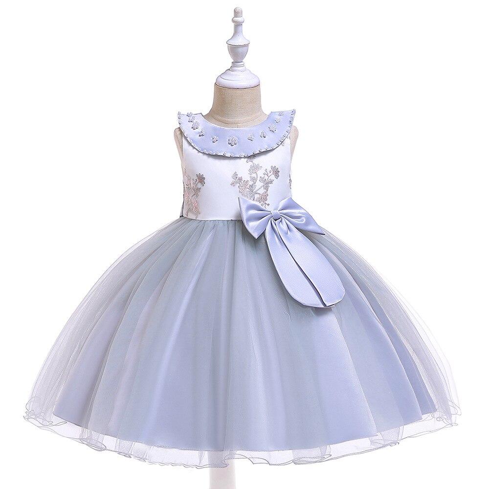 New A-Line   Flower     Girl     Dresses   for Wedding 2019 Tulle Communion   Dresses   Grey Prom Evening   Dress   for Little   Girl