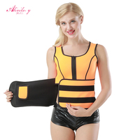Alivila. Y Moda Mulheres Trainer Cintura Látex Corpo Tops Laranja Neoprene Mangas Zipper Bodysuit Shapers Cintura Espartilhos das Mulheres