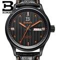 Швейцарские мужские часы  роскошные брендовые наручные часы BINGER  деловые механические мужские часы с кожаным ремешком  водонепроницаемые ...