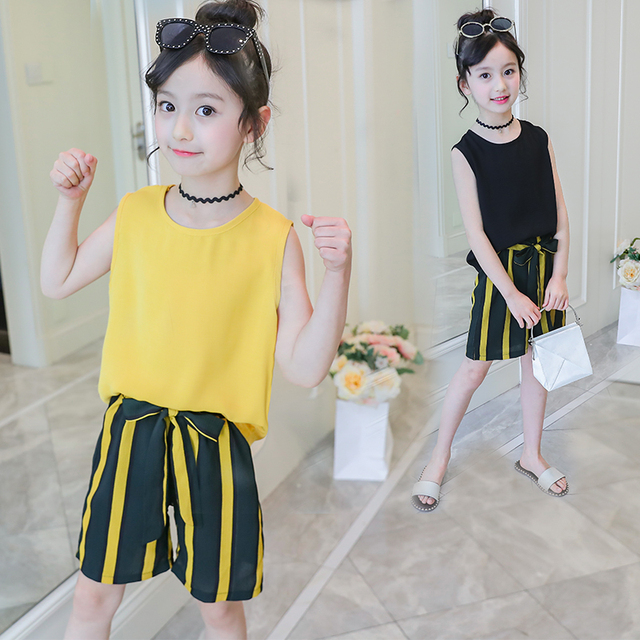 19d8acaf57e4e US $10.87 18% OFF|5 6 7 8 9 10 11 12 Year Girls Clothes Set Summer Style  2019 New Casual Children Kids Cotton Linen Top + Chiffon Shorts 2Pcs  Suit-in ...