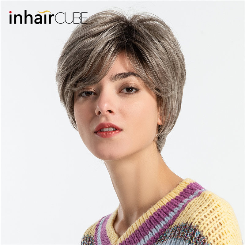 Synthetic Blend Wigs Synthetic Wigs 2019 Fashion Inhair Cube 8 Inches Women Wigs Ombre Synthetic Blend Hair Natural Fluffy Wave Short Wigs With Bangs Free Gift European Style Cheapest Price From Our Site