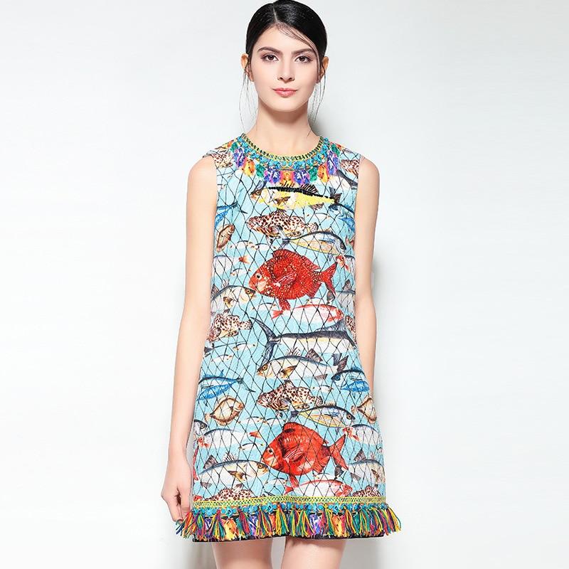 2018 новейшие модные рыб и Сетки для автомобиля принт Для женщин платье с кисточками в европейском стиле высокое качество длиной выше колена ...