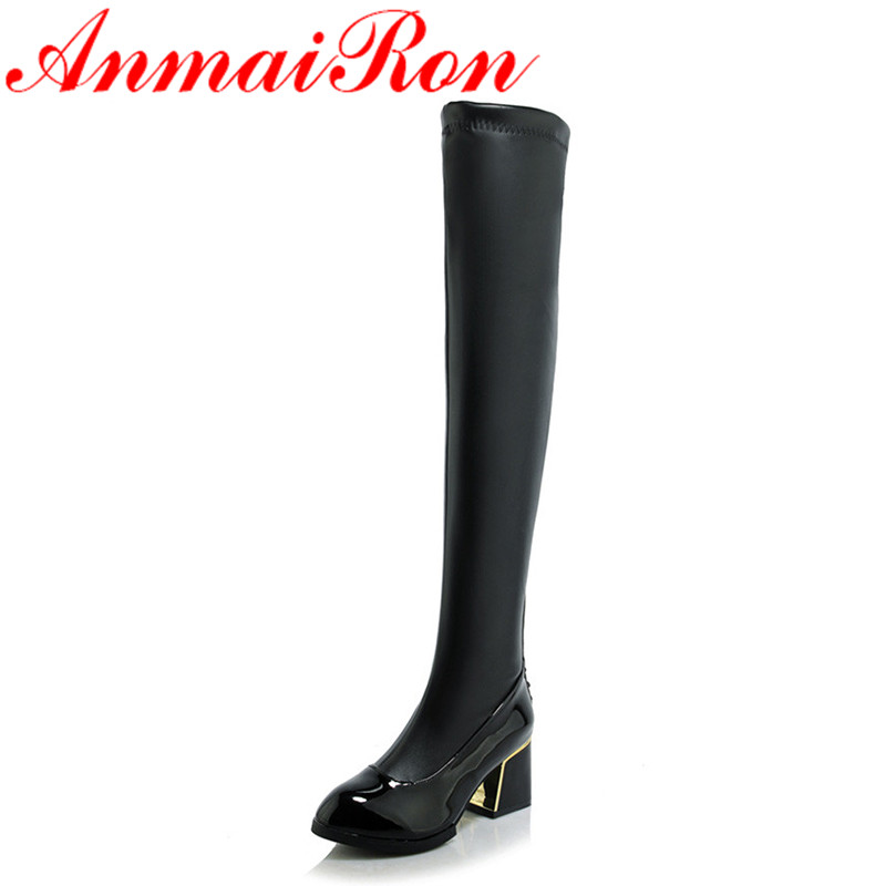 ФОТО ANMAIRON Autumn Med Heels Pointed Toe Knight Boots Women Winter Over Knee High Boots Shoes Woman Stretched Long Boots
