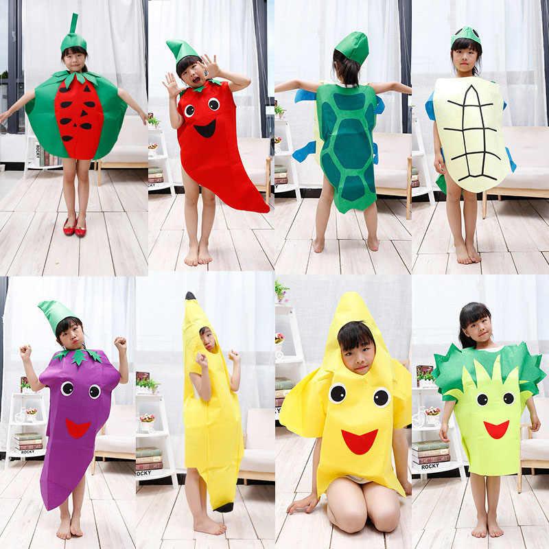 Взрослые Дети Хэллоуин вечерние день детей мультфильм фрукты овощи костюм Одежда Косплей Тыква банан дерево Пурим