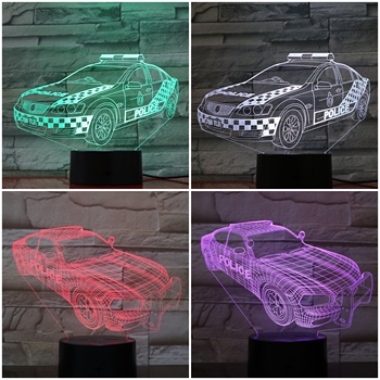 LED Night Light Police Vehicle Car 3D Illusion Lampara NightLight visual decorative lights Children Kids Gift night lamp Decor