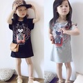 New brand tiger print girl dress girls casual sport dresses balck/grey clothes for children and kids clothing girl clothes