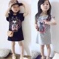 Nova marca da cópia do tigre vestido da menina vestidos de meninas esporte ocasional balck/cinza roupas para crianças e crianças roupas de menina roupas