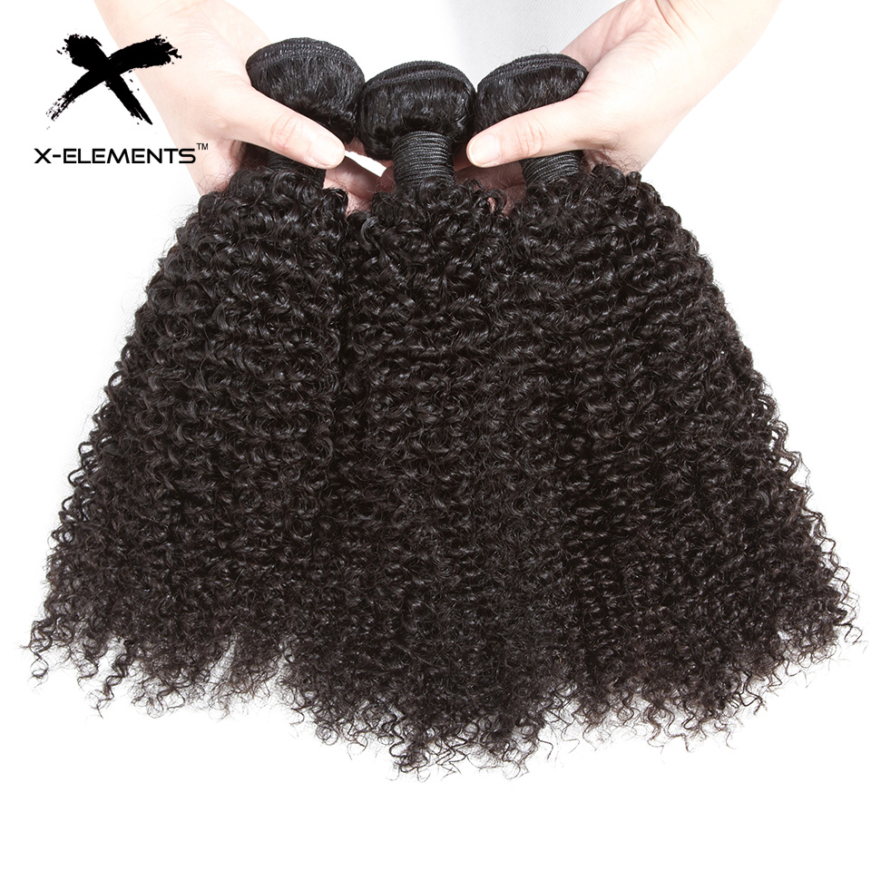 X-Elements Hair Malaysian Kinky Curly Hair Weave 3 4 Bundles Deals 100% Human Hair Extensions Non-Remy 8-26 Inches Natural Color (3)