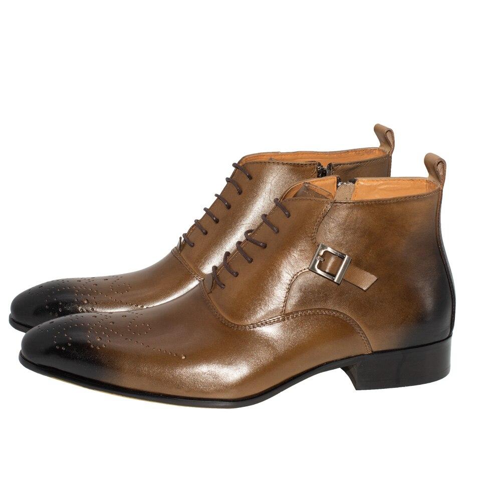 Botas básicas para hombre estilo italiano moda tobillo Brogue sólido Casual punta puntada encaje Up Color caqui hebilla cremallera genuina botas de cuero-in Botas básicas from zapatos    2