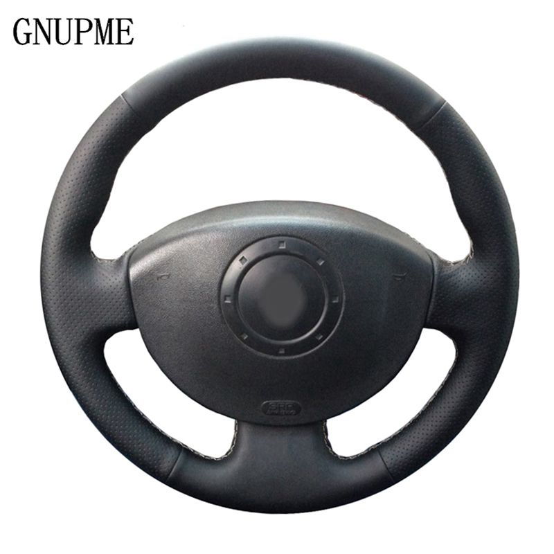 GNUPME Schwarz Hand-Genäht Leder Auto Lenkrad Abdeckung für Renault Megane 2 2003-2008 Kangoo 2008 Scenic 2 2003-2009