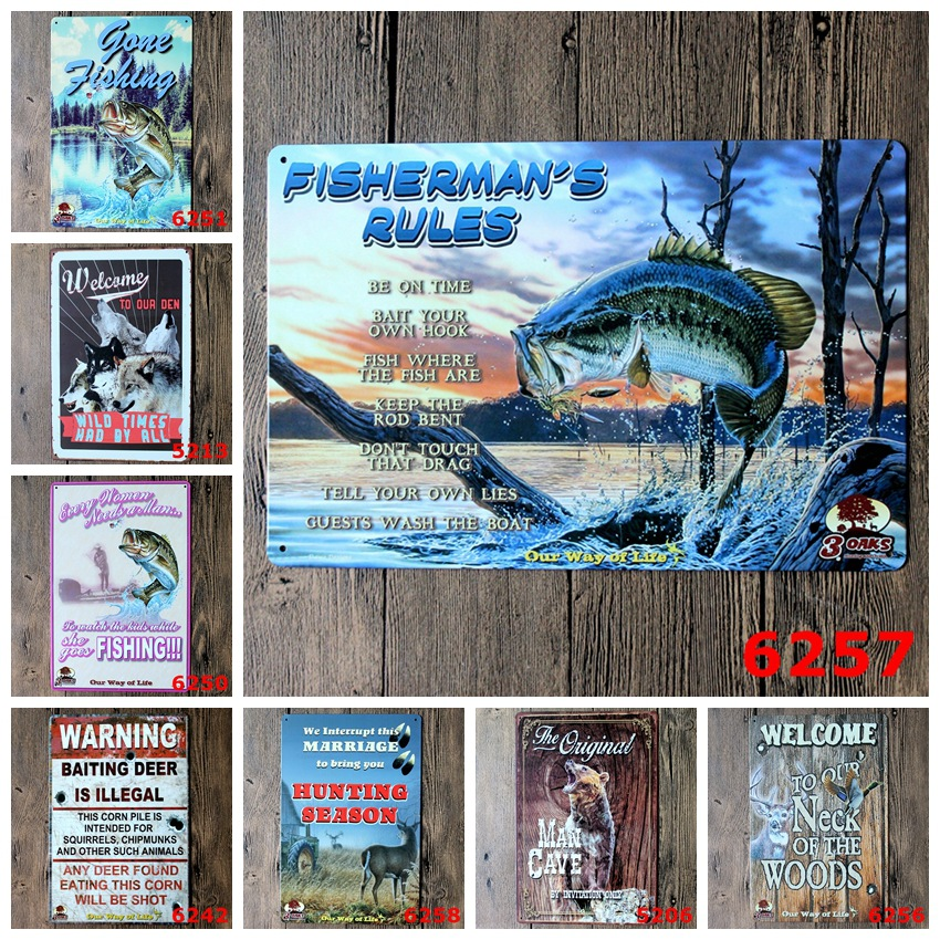 20x30 Cm Hunting Fishing Fisherman Wild Times Antique Retro Metal Tin Signs Iron Painting Crafts Vintage Home Wall Decoration