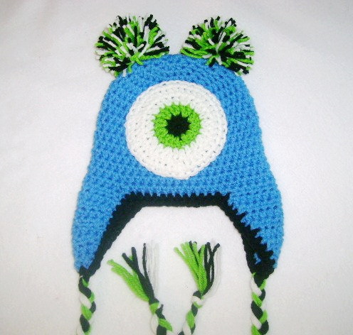 free shipping, 100% cotton childrens Crochet hat , crochet one-eyed Inc Mike style gear knob beanie caps