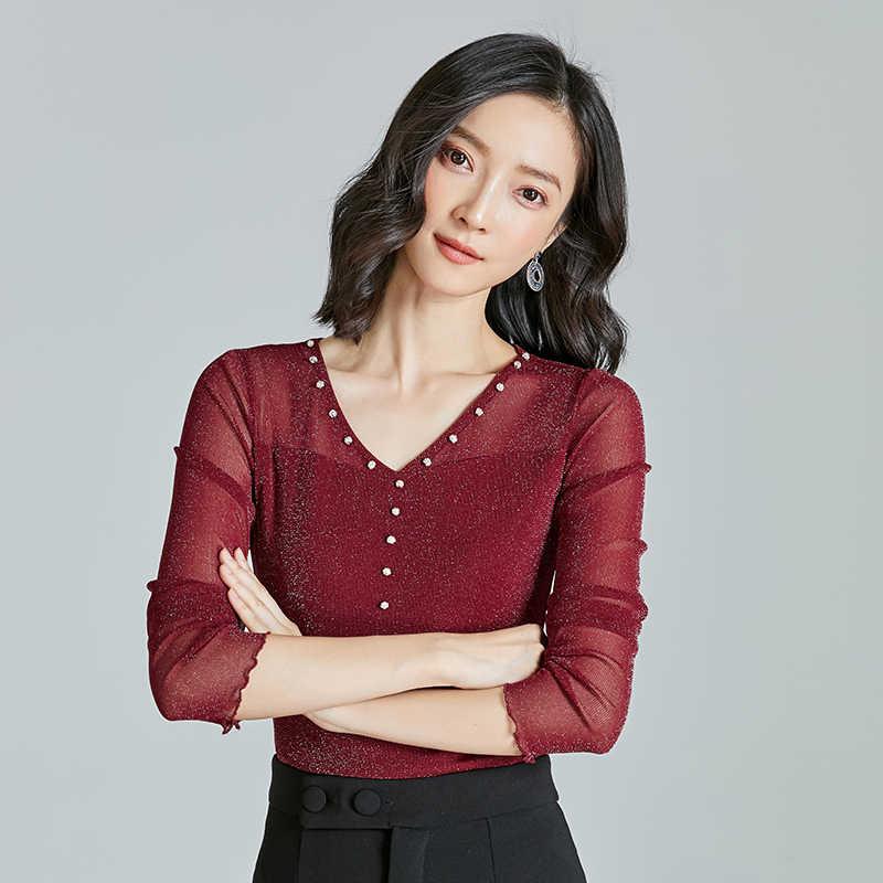 Зимние женские блузы, Повседневная тонкая рубашка с v-образным вырезом, женская блузка с длинными рукавами и пряжкой для девочек, женская одежда на пуговицах, цвет черный, хаки