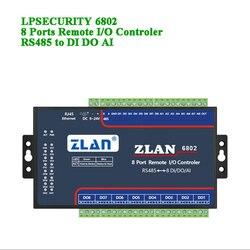 Дистанционный IO контроллер 8 портов RS485 для DI DA AI Modbus RTU протокол цифровой вход выход аналоговый 8 каналов ввода/вывода Модуль ZLAN6802