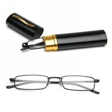 Mayitr 1pc Unisex Metal Reading Glasses 8 Colors Portable Clear Spring Hinge +1.0~+4.0 With Tube Case