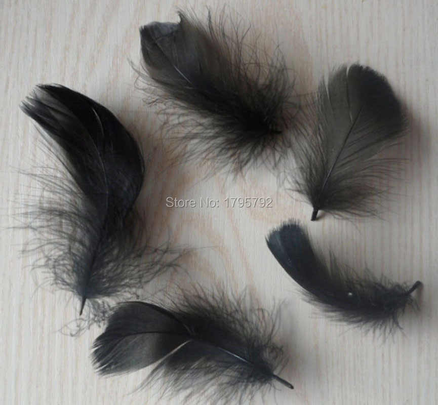 Wholesale 25 pcs Black Color Small Floating Goose Feathers 5-8 cm Plumas For Earring Hat Dreamcatcher Crafts Decorations Plumes