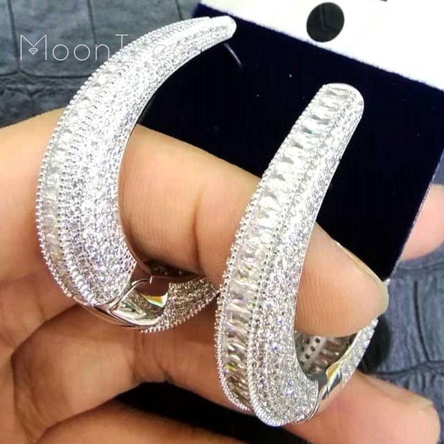 Modemangel moda luxo círculo redondo completo micro zircônia cúbica jóias de casamento feminino meninas cobre orelha piercings acessórios
