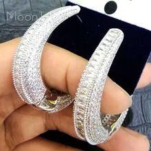MoonTree Luxury Round Circle Full Micro Cubic Zirconia Wedding Jewelry Women Girls Copper Ear Piercings Accessories