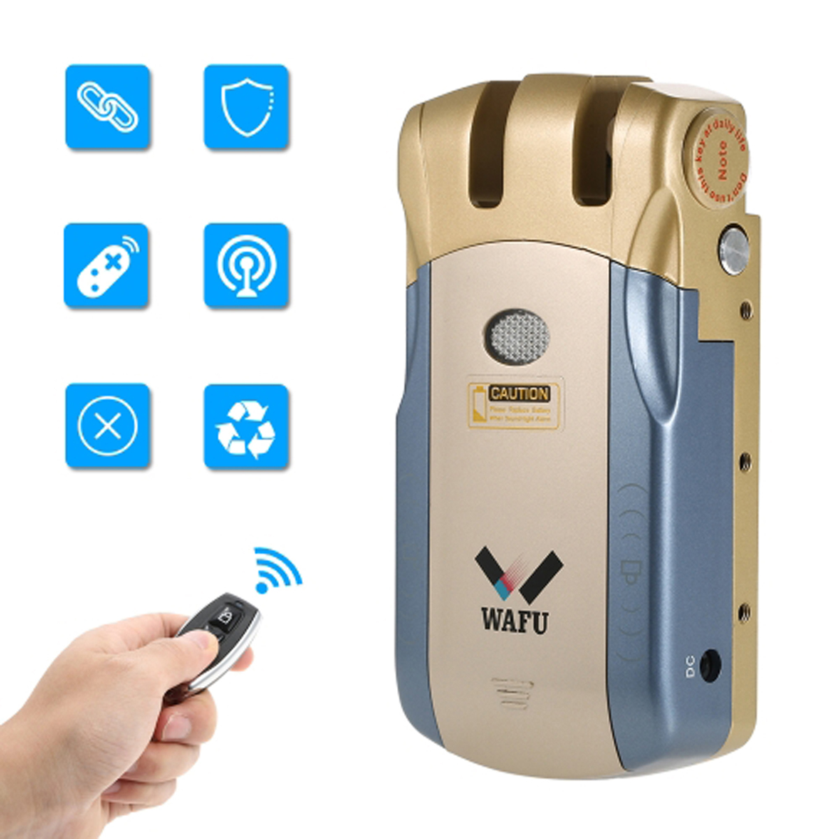 Wafu serrure de porte à distance électronique sans clé sans fil 433 mHZ serrure intelligente Invisible avec 4 clés à distance