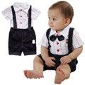 2016 Красивый мальчиков комплектов одежды для лета хлопка детский костюм устанавливает младенец настроенной мальчика футболки + шорты + галстук-бабочка