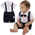 2016 de Los bebés Guapos traje conjuntos de conjuntos de ropa para Niños del algodón del verano conjunto infantil del muchacho camisetas + shorts + pajarita