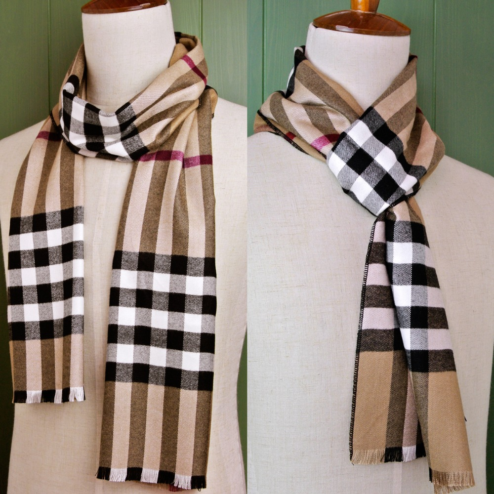 Checked Plaid Scottish font b Tartan b font Men Scarf Cashmere Tassel Wrap Unisex Winter Scarves
