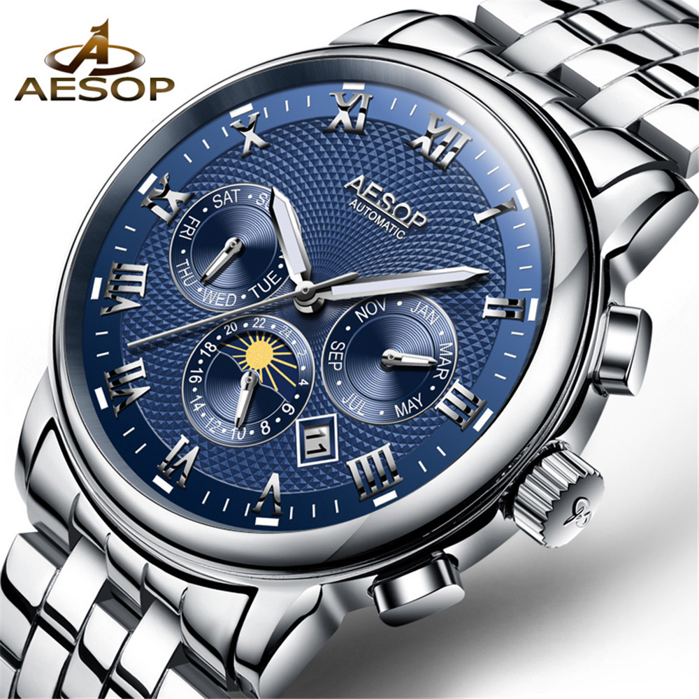 AESOP Automatic Mechanical Watch Men Fashion Blue Wrist Wristwatch Stainless Steel Male Clock Moon phase Relogio Masculino 2018