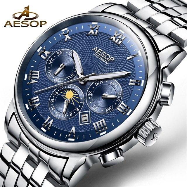 17fb17225e8 AESOP Relógio Azul Moda Masculina de Pulso relógio de Pulso de Aço  Inoxidável Mecânico Automático Relógio
