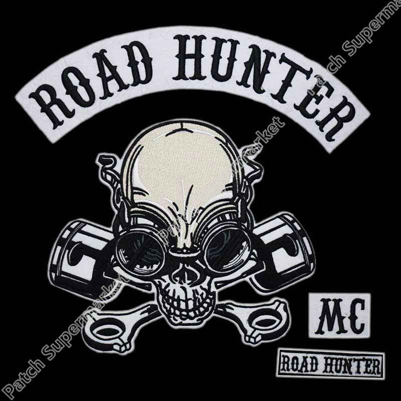 2aff324cecb MC ROAD HUNTER SKULL PISTONS LARGE biker patches for jacket BACK embroidery motorcycle  rockabilly men patches